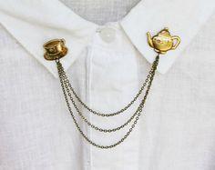 perni in ottone teiera collare collare catena di alapopjewelry