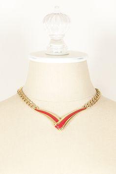 70's__Monet__Red V Bar Necklace