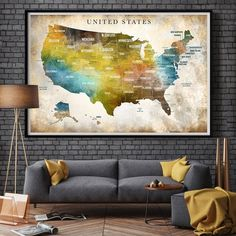 Travel Gift Your Travels USA Map Wall Art (United States of America Watercolor Art) off birthday anniversary, USA map poster USA map print Usa Travel Map, Extra Large Wall Art, Map Wall Art, Travel Gifts, Watercolor Art, Traveling By Yourself, Anniversary, United States, America