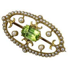 Edwardian Seed Pearl and Cushion Cut Peridot Gold Brooch Pin