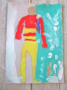 Children's Art Naive Painting Aqua & Red Abstract by SweetMeasTots, $18.00