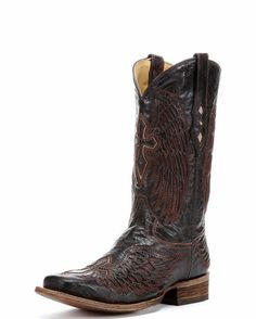b77ea595209 Men s Distressed Chocolate Cognac Inlay Winged Cross Boot - A1978