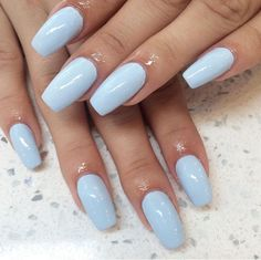In seek out some nail designs and some ideas for your nails? Here is our set of must-try coffin acrylic nails for modern women. Blue Acrylic Nails, Summer Acrylic Nails, Pastel Nails, Acrylic Nail Designs, Summer Nails, Sky Blue Nails, Summer Nail Polish, Light Pink Nails, Acrylic Art
