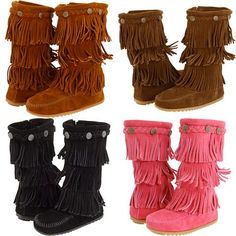 They're Minnetonka Kids 3-Layer Fringe Boots, available in black, pink, and two shades of brown. I'm thinking about springing for a dark brown pair for my boot-loving girl.