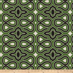 Fabricut Gaga Kelly Green from @fabricdotcom  Screen printed on 100% cotton, this medium/heavyweight fabric features a geometric / abstract pattern and is perfect for window accents (draperies, valances, curtains, and swags), accent pillows, duvet covers, and upholstery projects.