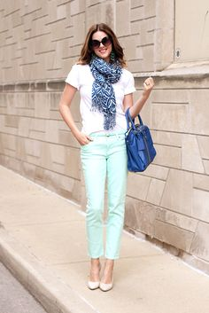 Mint Pants, White Shirt w/ Blue Scarf & Bag | Women's Business Casual