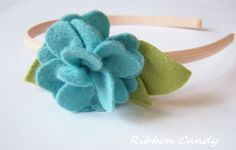 Teal and Apricot Felt Flower Headband Felt Flowers, Fabric Flowers, Ribbon Candy, How To Make Greens, Teal, Shapes, Inspiration, Felted Flowers, Biblical Inspiration