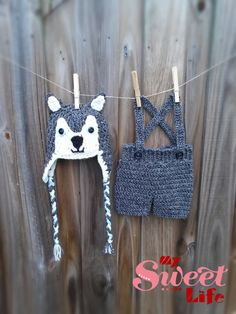Newborn Handmade Outfit Crochet Wolf Hat by MySweetLifeOnline Crochet Wolf, Knit Crochet, Crochet For Kids, Crochet Baby, Wolf Hat, Halloween Outfits, Handmade Clothes, Baby Photos, To My Daughter