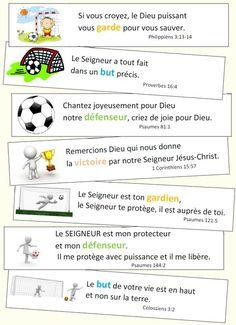 Versets pour les fans de foot Thing 1, Religious Studies, Study Notes, God Is Good, Sunday School, Bible Verses, Poems, Religion, Spirituality