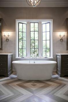 Bathroom with Herringbone Tile Floor, Contemporary, Bathroom, CR Home Design...