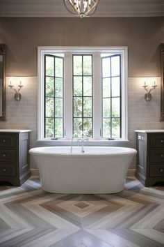 Bathroom with Herringbone Tile Floor, Contemporary, Bathroom, CR  Home Design