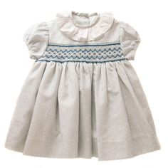 1885cdd9459c7 Light Blue Flower Handsmocked Dress Handmade in Spain (0-5 years old) Blue