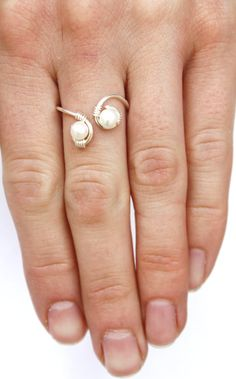 Pearl and Sterling Silver Wire Wrapped Ring, Feminine, Delicate, Wedding FREE SHIPPING via Etsy