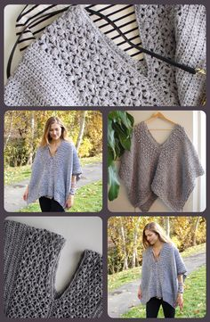 A cute, lacy poncho crochet pattern for crocheting the perfect lacy poncho to wear out on your next shopping trip or lunch date! Lacy crochet poncho pattern by Little Monkeys Designs