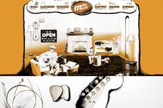 illustration for a guitar store, living room, acoustic store, ballpen