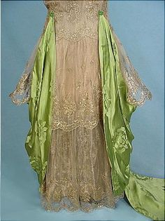 1916 Evening Gown of Apple Green Chinese Silk Damask   Draped over Gold Lame Lace over Gold Lame Lining