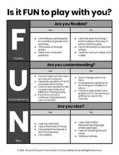Use this simple document on your classroom's projection system to illustrate positive behaviors for recess and playtime. A blank copy Social Skills Activities, Teaching Social Skills, Counseling Activities, Social Emotional Learning, Therapy Activities, Play Therapy, Speech Therapy, Learning Activities, Elementary School Counseling