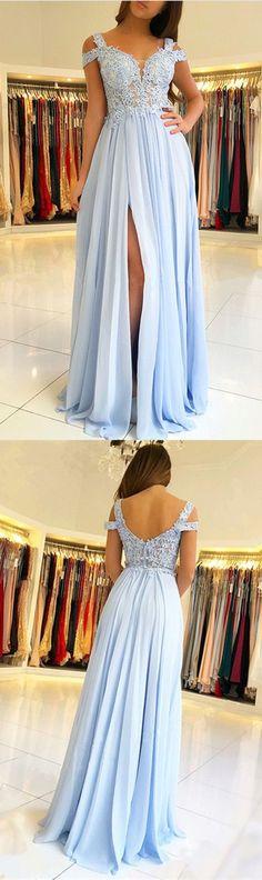 Light Blue Chiffon Off The Shoulder Prom Dresses Lace Appliques Formal Gowns P1893