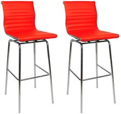 Pair Rovinga Chrome and Padded Kitchen Breakfast Bar Stool Fixed Height Various Colours 4 Leg Frame