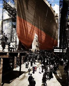 """The Ocean Liner Enthusiasts on Instagram: """"RMS Titanic seen here being launched on May 31st 1911.  #RMSTitanic #titanic #oceanliners #oceanliner #liner #liners #ship #Shipping #ships…"""""""