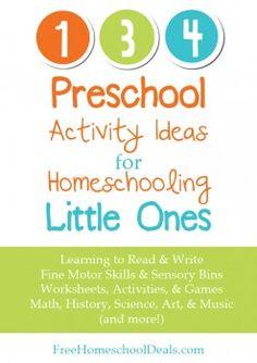 homeschool preschool - various printables and activities