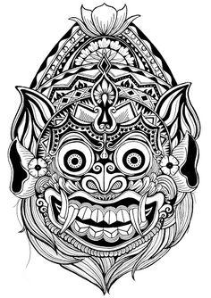 Bali Dragon Line Drawing Photos - - Totem Tattoo, Mask Drawing, Doodle Art Drawing, Tattoo Design Drawings, Art Drawings Sketches, Mandala Tattoo, Mandala Art, Dragon Line Drawing, Widder Tattoo