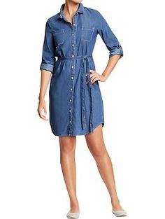 Womens Chambray Belted-Shirt Dresses