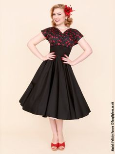 Grace Black Cherry Bust Black Sateen Dress from Vivien of Holloway