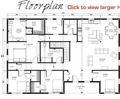floor plan pre-designed great plains western horse barn home kit image. I really like this one and I don't even want the floor Pole Barn House Plans, Pole Barn Homes, House Floor Plans, Pole Barns, Barn House Kits, Cabin Kits, Metal Building House Plans, Building Ideas, House Blueprints