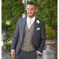 stretton charcoal grey lounge suit with grey / royal tweed waistcoat Wedding Suit Hire, Tweed Wedding Suits, Perfect Wedding Dress, Wedding Men, Wedding Groom, Wedding Ideas, Groom And Groomsmen Attire, Groom Wear, Groom Outfit