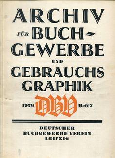 Cover Archiv für Buchgewerbe und Gebrauchsgraphik, 63. Jahrgang, Heft 7 1926