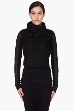 RICK OWENS DRKSHDW Black Leather Trim Biker Jacket