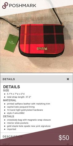 Kate spade plaid crossbody bag NEW Red and black  Please see pics for detailed description  New with tags  Perfect condition I ship the same day or next day kate spade Bags Crossbody Bags