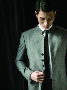 MISURINO grey Chinese tunic suit