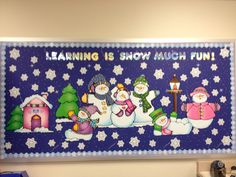 My winter bulletin board! The snowflakes have all the Dolch first grade sight words written in them!