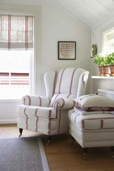 Fleaing France: Lovely cottage bedroom with vintage upholstered wingback rolled-arm chair with brown ...