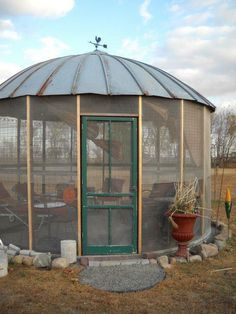 Gazebo made out of an old corn hutch