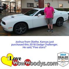 Joshua upgraded to a stylish Dodge Challenger, congratulations! 🎉 #wowwoodys #carshopping #customerreviews #musclecars #moparcars #dodgechallenger