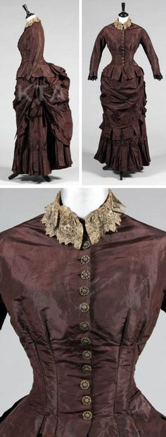 "Chocolate brown taffeta gown, American, ca. 1883. Jacket-like bodice with pierced gilt metal floral buttons, fob pocket to waist, tabbed hem and cuffs, and pleated fan-effect tail over the bustle; the draped skirt with tabs also the ""apron"" front, heavily pleated hem, lined in brown cotton. Kerry Taylor Auctions"