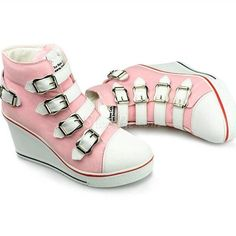 9ba263f3ef Concise Buckle High-top Wedge Canvas Shoes