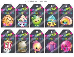 Shopkins Thank You Tags, Printable JPG PDF, Birthday Party