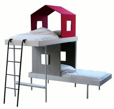 Treehouse Bunk Beds by AAlto+AAlto, rafa-kids: Can be rearranged so that the beds are parallel, with head-over-head or head-over-toes! #Bunk_Beds #Treehouse