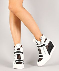 Women's Liliana White and Black Patent Mesh Wedge Sneakers: White Wedge Sneakers, Buy Sneakers, Sneakers Fashion, Fashion Shoes, Wedge Shoes, Flat Boots, Shoe Boots, Glamour, Hot Shoes