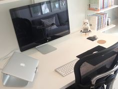 Finally setup my perfect workspace! MacBook Air, Apple Thunderbolt Display, Ergohuman chair and Rain Design mStand. What's your workspace setup? Office Setup, Desk Setup, Office Workspace, Office Ideas, Office Table, Macbook Air, Graphic Design Workspace, Workspace Inspiration, Design Inspiration