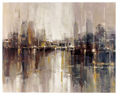 This abstract cityscape oozes sophistication with it's warm color tones and soothing atmosphere. A perfect addition to any room of the house or office. This gallery wrapped canvas wall art with hand t                                                                                                                                                                                 More