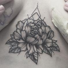 Peony sternum tattoo