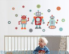 Robot Wall Decal - Set of 3 Robot decals - Reusable Fabric Decals - Retro Robot Wall Art for Kids Room - Gears Decal - Kid Bedroom by ToodlesDecalStudio on Etsy