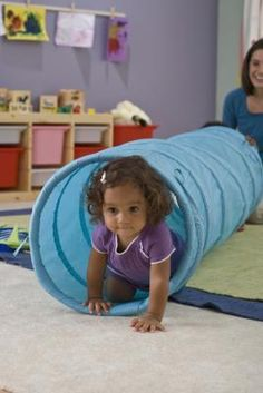 Tunnel play - set it up & encourage play, hiding, posting, taking toys through it, rolling it, stepping over the legs etc