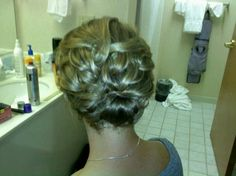 "Hair by ""Alicia"" Shoulder length hair updo"