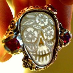 DAY of the DEAD SKULL Wedding ring carved sugar skull modifications and requests accepted for extra charge